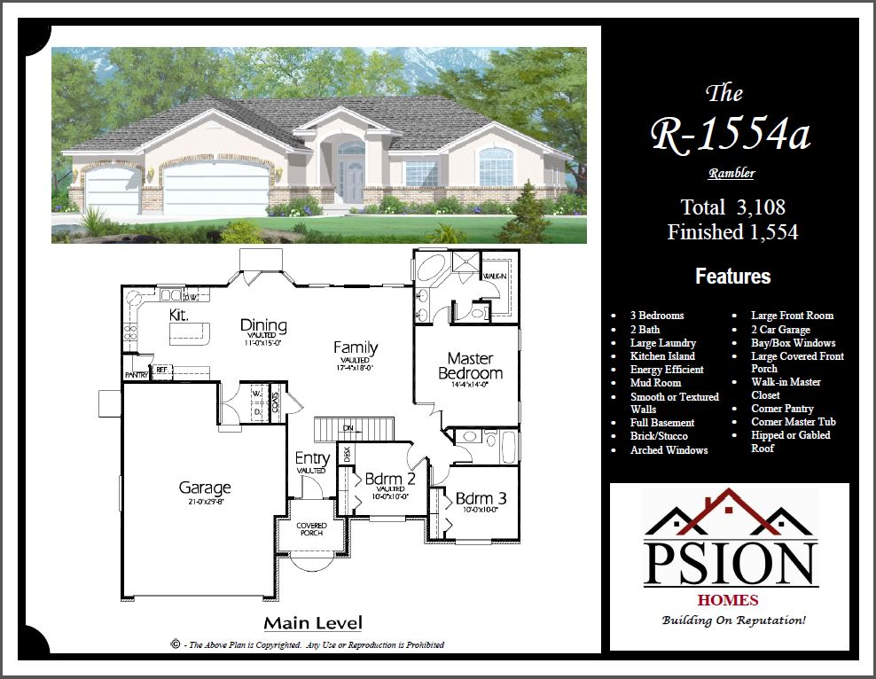 Rambler floor plans psion homes for House plans with large front windows